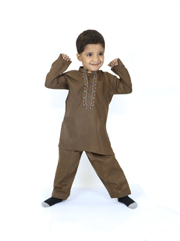 AM 2 Yrs - 14 Yrs Boys Shalwar Kameez Suit Brown