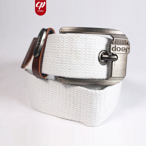 Cut Price Braided Jute Belt For Men White