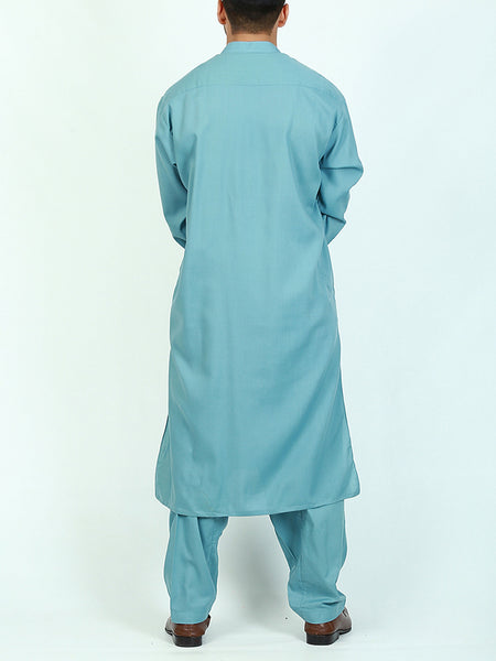 752 Shalwar Kameez Suit Stitched Sherwani Collar Embroidery Scuba Blue