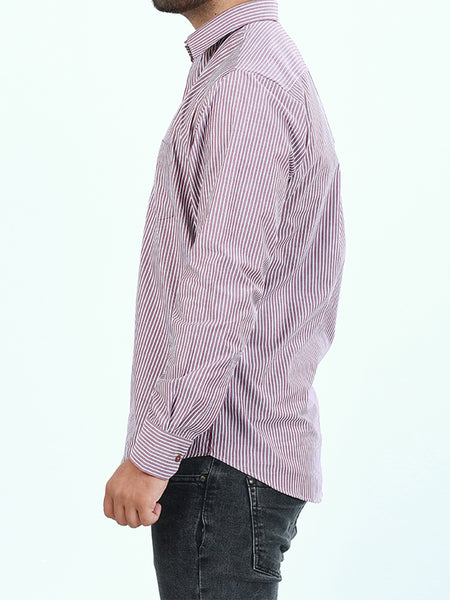 100% Cotton Formal Dress Shirt For Men W Light Purple Lines