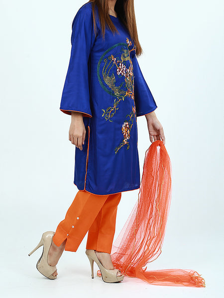 3Pcs Stitched Suit For Women Blue Multi-Color Embroidery