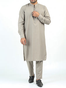 400 Kurta Pajama Suit Stitched Sherwani Collar Sand Stone Brown