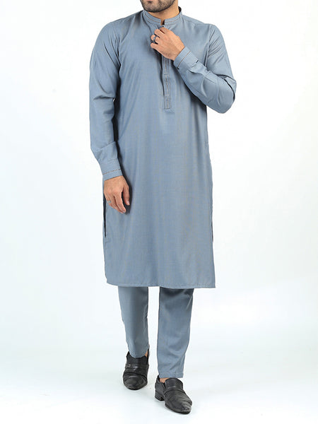 400 Kurta Pajama Suit Stitched Sherwani Collar Sea Blue