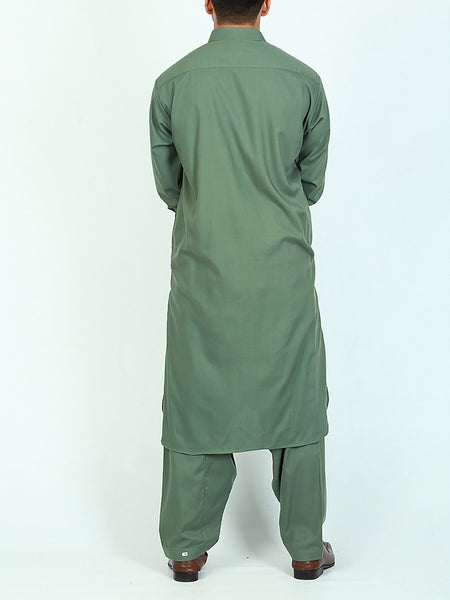 752 Shalwar Kameez Suit Stitched for Men Shirt Collar Embroidery Green