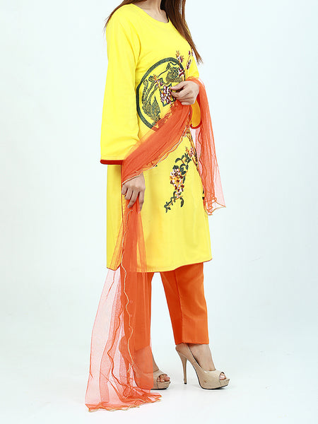 3Pcs Stitched Suit For Women Yellow Multi-Color Embroidery