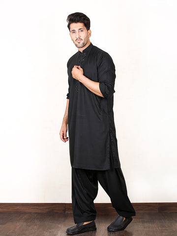 30/2 Shalwar Kameez Stitched Suit Sherwani Collar Embroidery Pitch Black