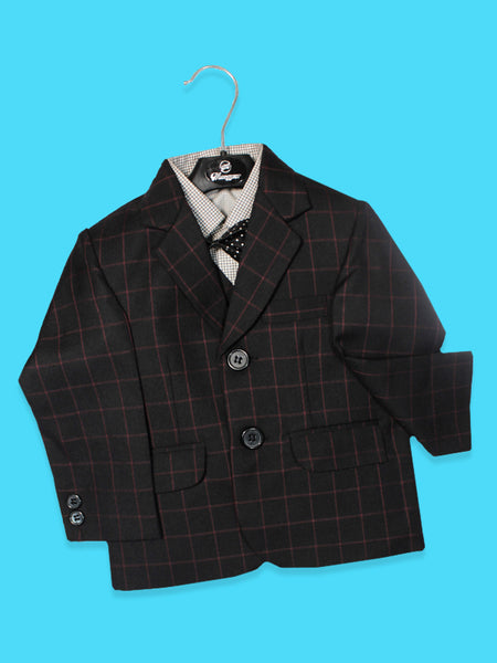 BS 1Yr to 14Yr 5 Pcs Coat Pant Suit For Boys Black Red Checks