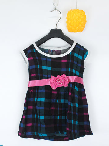 Sleeveless Frock for Girls 10 Mth - 3.5 Yrs Printed Cross