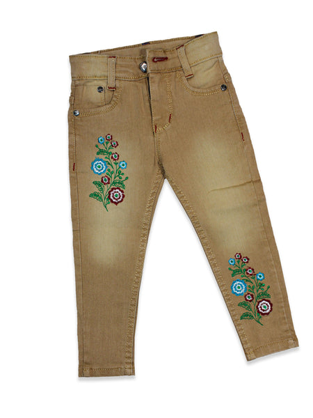 3 Yrs - 11 Yrs Power Stretch Jeans For Girls Mud Brown