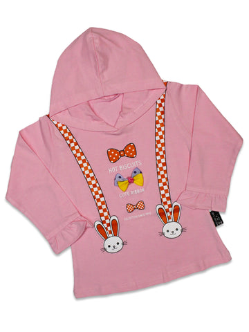 AT2 2.5Yrs - 7Yrs Hoodie T-Shirt For Girls Rabbit Soft Pink