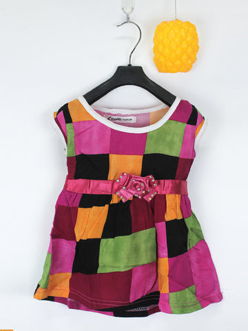 Sleeveless Frock for Girls 10 Mth - 3.5 Yrs Multi Squares