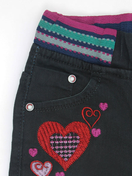 5 Yrs - 11 Yrs Power Stretch Jeans for Girls Heart Black