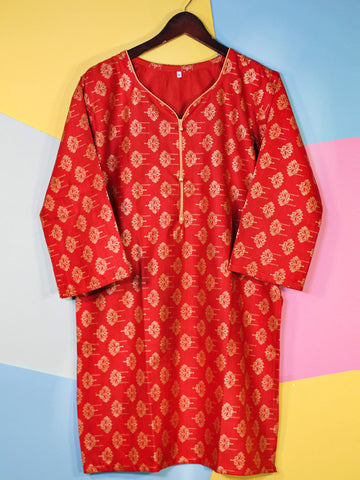 Khaddar Kurti for Women Printed Orange