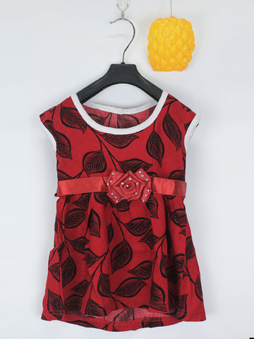 Sleeveless Frock for Girls 10 Mth - 3.5 Yrs Printed Leaf