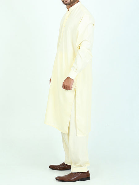 596/2 Shalwar Kameez Suit Stitched Sherwani Collar Embroidery Cream