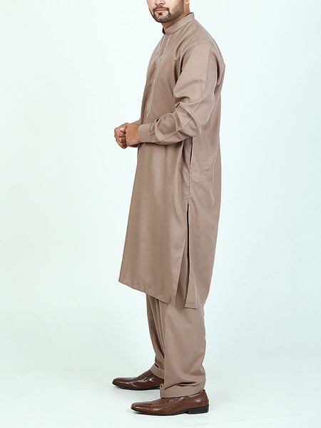596/2 Shalwar Kameez Suit Stitched Sherwani Collar Embroidery Pale Brown