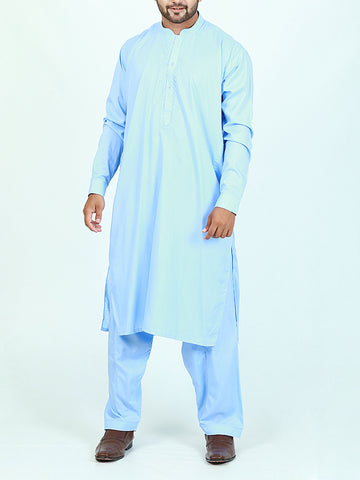 752 Shalwar Kameez Suit Stitched Sherwani Collar Embroidery Sky Blue
