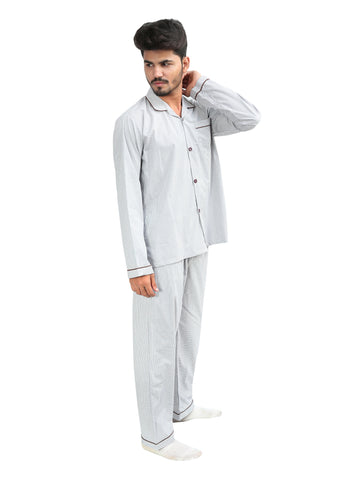 NS-C1 100% Cotton Night Suit for Men White Brown Lines Check