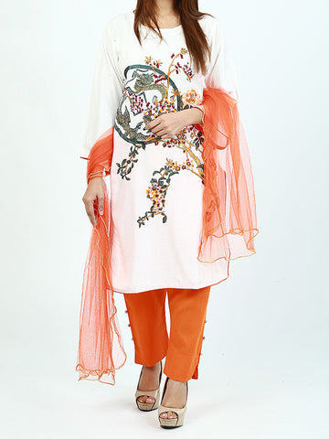3Pcs Stitched Suit For Women White Multi-Color Floral Embroidery