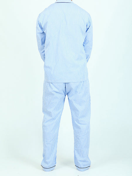 NS-C2 100% Cotton Night Suit for Men Night Time Blue Lines