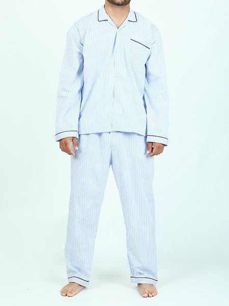 NS-C2 100% Cotton Night Suit for Men Night Time Light Blue Lines