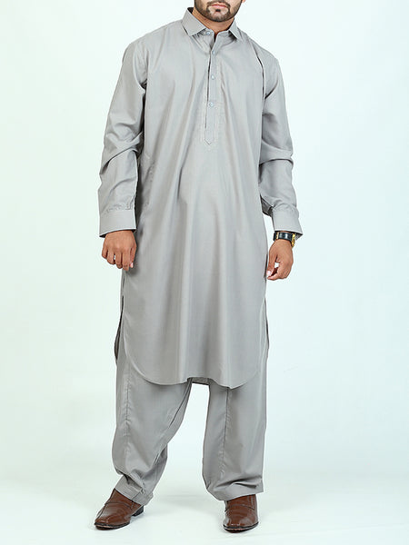 596/1 Shalwar Kameez Stitched Suit Shirt Collar Embroidery Warm Gray