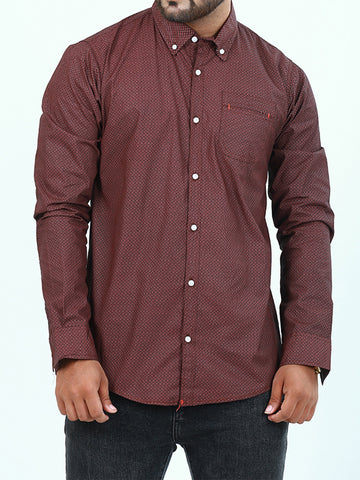 Casual Shirt for Men Printed Dark Brown Black Square