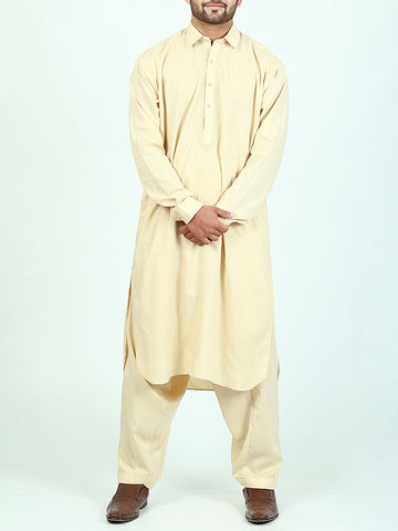 752 Shalwar Kameez Suit Stitched for Men Shirt Collar Embroidery Cream Yellow