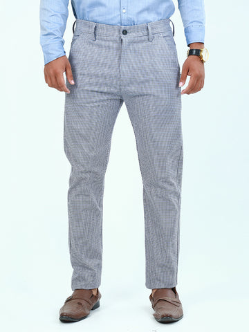 Cotton Chino Pant For Men Blue Black Checks