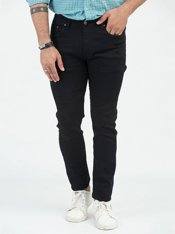 Stretchable Jeans for Men Plain JET BLACK