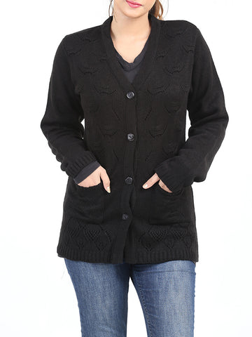 Ladies Sweaters Cardigan Full Sleeves Molly Black