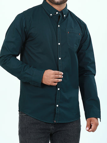Casual Shirt for Men Plain Dark Green