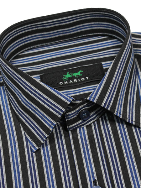 Formal Dress Shirt For Men Luxury Stripes Black