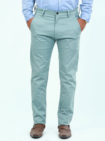 Cotton Chino Pant For Men Light Sea Green