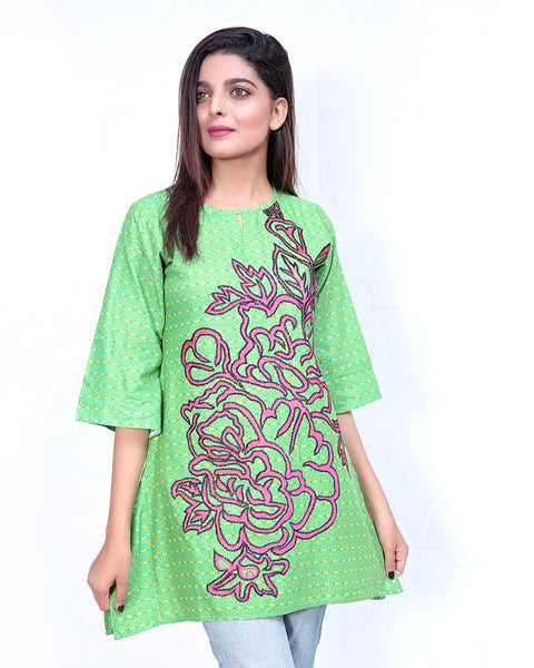 Embroidered Kurti For Women Sea Green Pink Embroidery