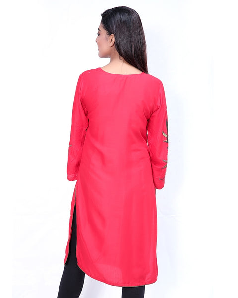 Embroidered Kurti For Women Red Green Pink Embroidery