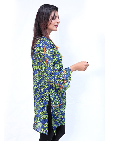 Printed Kurti For Women Front Piping Blue Green Flora