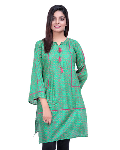 Printed Kurti For Women Front Piping Green Pink Flowers