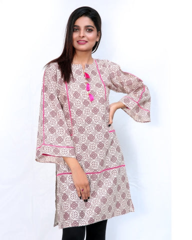 Printed Kurti For Women Front Piping Cream Pink