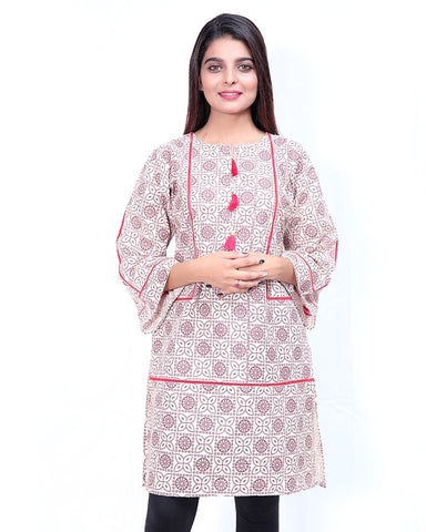 Printed Kurti For Women Front Piping Cream Red