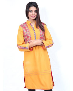 Embroidered Kurti For Women Mustard Multicolor Embroidery