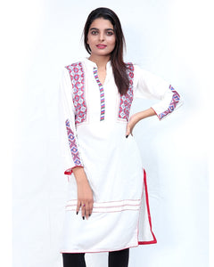 Embroidered Kurti For Women White Multicolor Embroidery