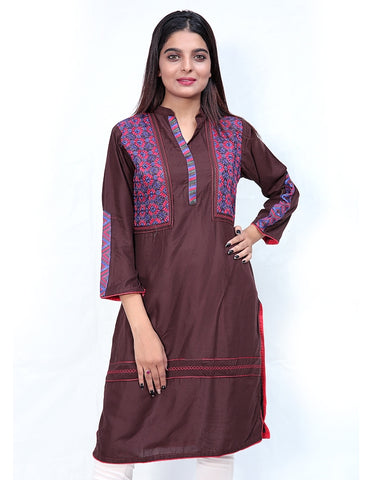 Embroidered Kurti For Women Brown Multicolor Embroidery