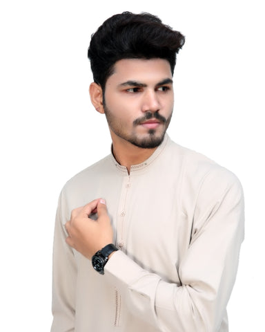 650 Shalwar Kameez Suit Stitiched for Men Sherwani Collar Light Fawn