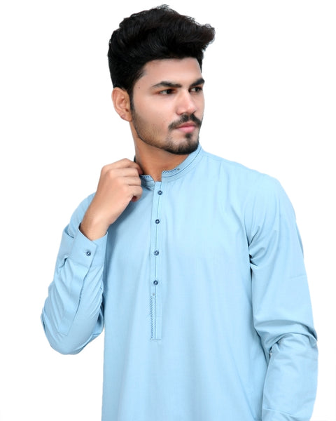 650 Shalwar Kameez Suit Stitiched for Men Sherwani Collar Light Blue