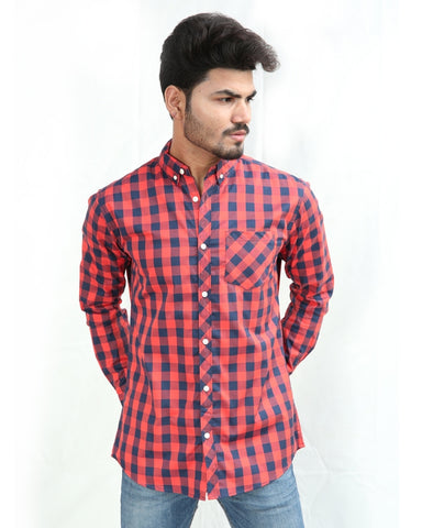 Casual Shirt For Men Cotton Imperial Red & Blue Check