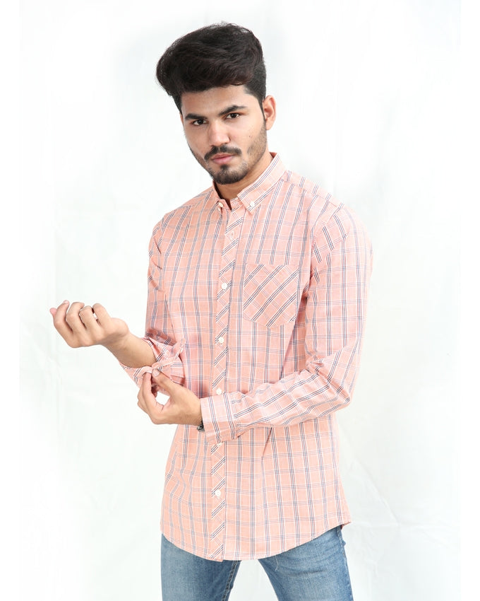 Casual Shirt For Men Cotton Orange & White Multi Stripe Lines