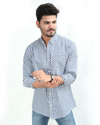 Casual Shirt For Men Cotton Dark Blue & White Check