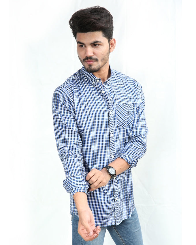 Casual Shirt For Men Cotton Ink Blue & Black Lines Check