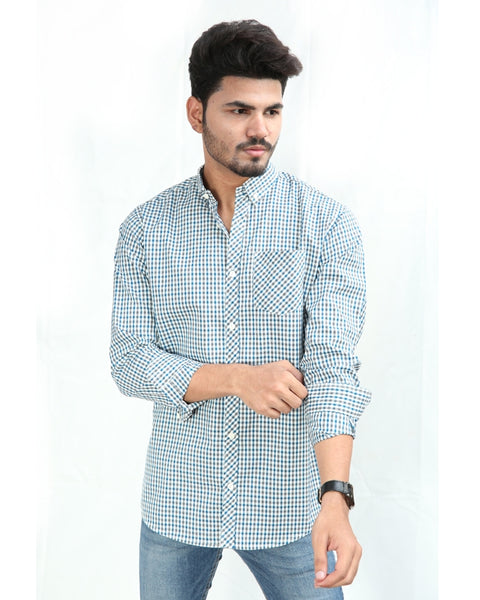 Casual Shirt For Men Cotton Turquoise Black White Lines Check